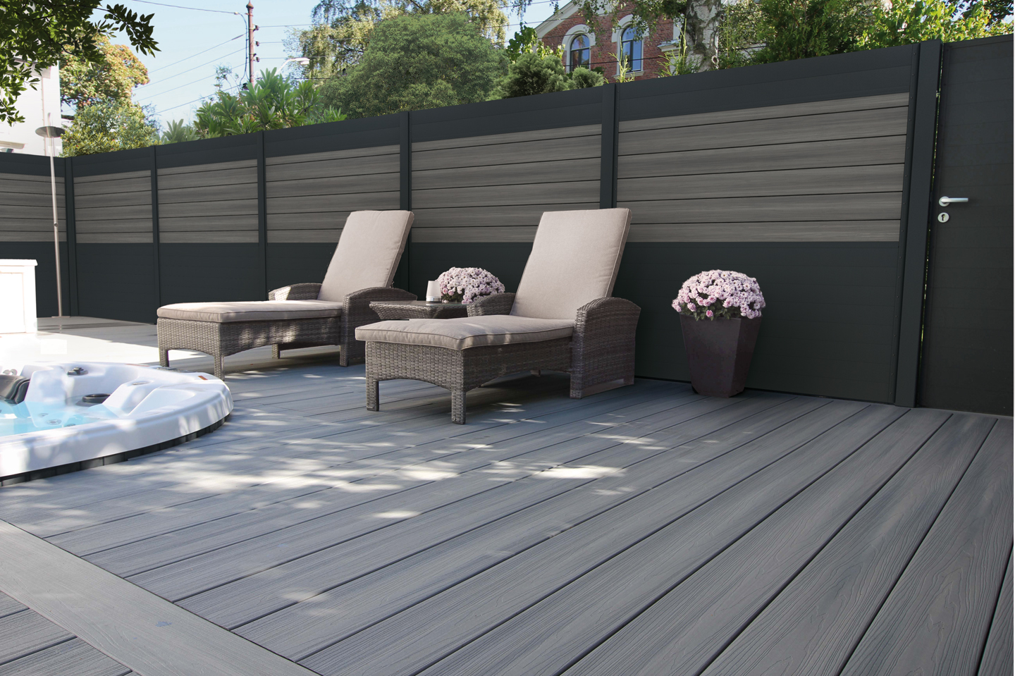 LuxFence Antraciet & Castle gray 6x