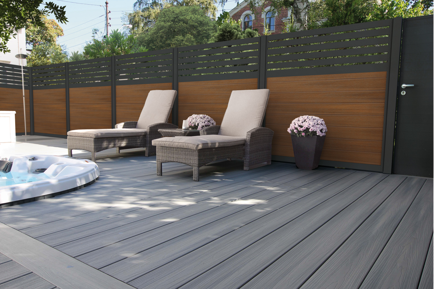 LuxFence Antraciet & TeakLook